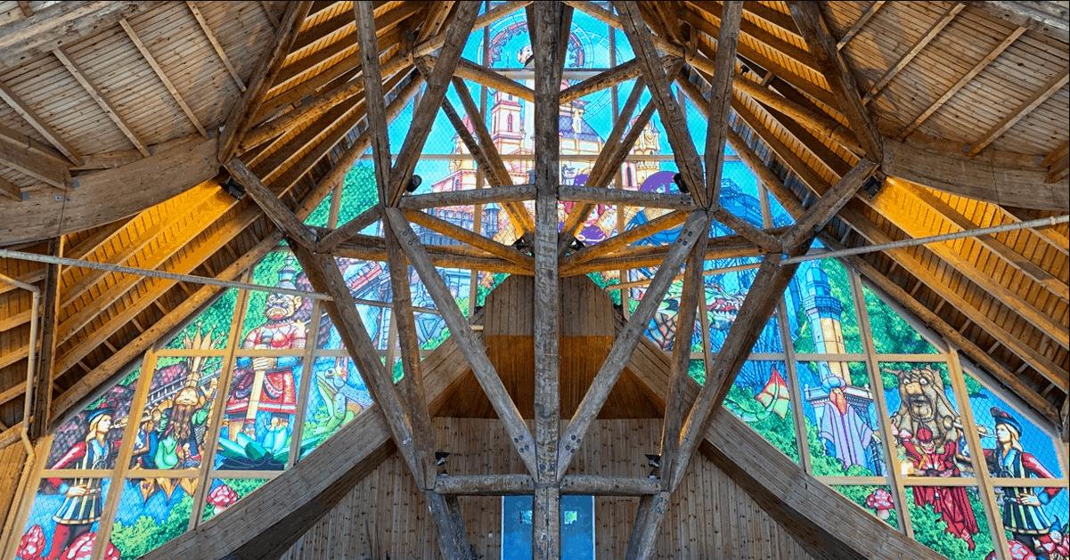 Glas-in-lood-effect in het Huis van de Vijf Zintuigen
